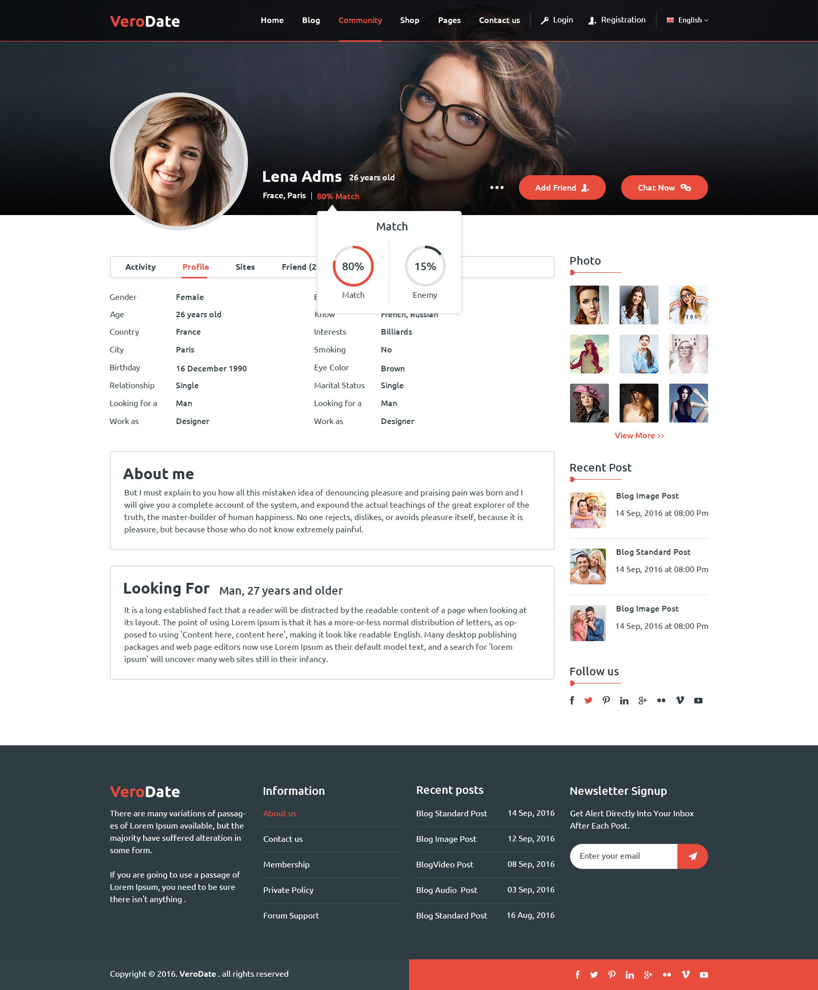 VeroDate - Dating Social Network Website PSD Template by VeroDate ...
