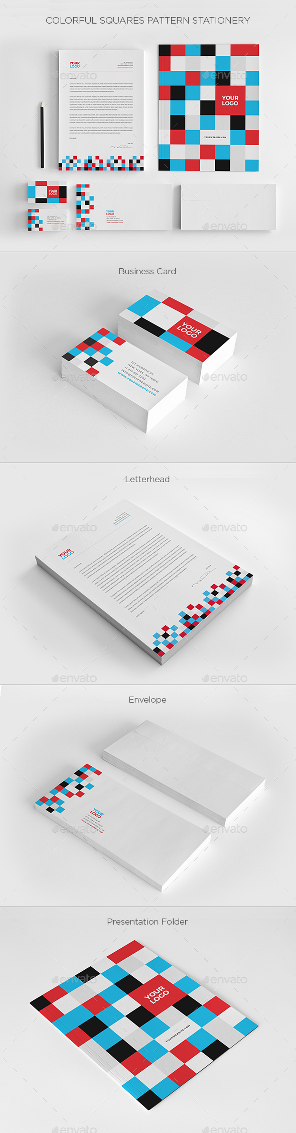 Colorful Squares Pattern Stationery - Stationery Print Templates