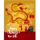 Chinese New Year Rooster and Dragon Greeting Card - GraphicRiver Item for Sale
