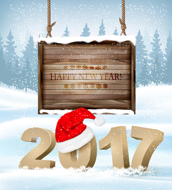 Happy New Year Background With 2017  Vector - New Year Seasons/Holidays