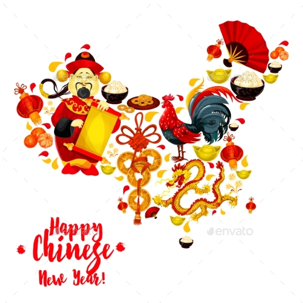 Map of China Made Up of Chinese New Year Symbols - Miscellaneous Seasons/Holidays