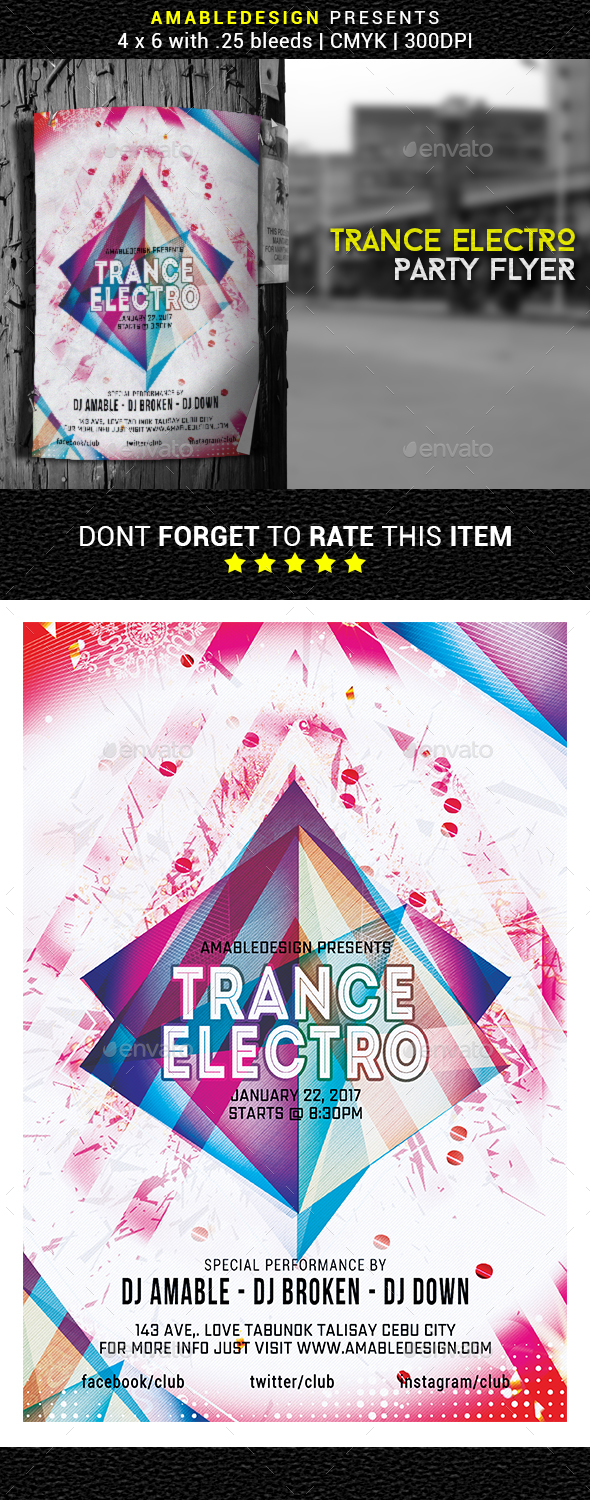 Trance Electro Flyer/Poster - Events Flyers