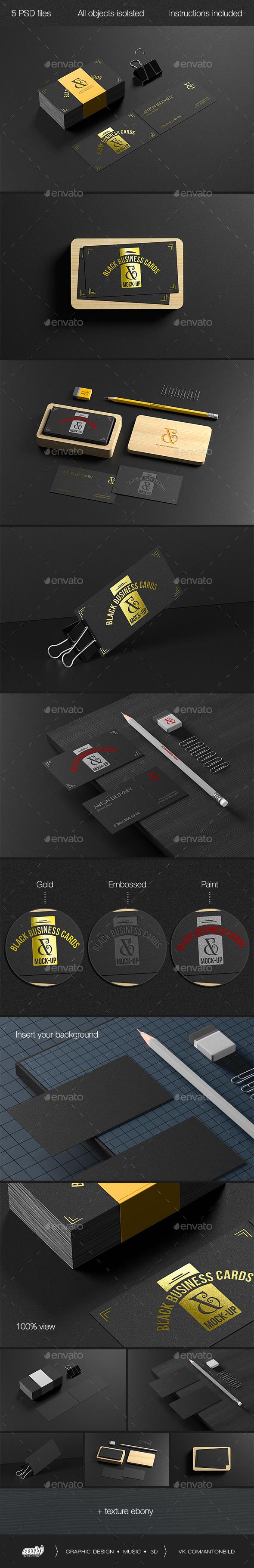 Black Business Cards Mock-up - Business Cards Print