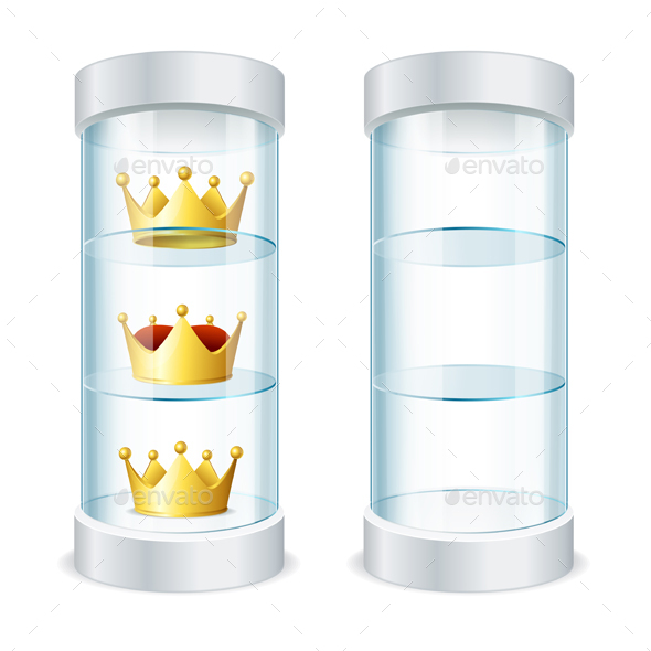 Round Glass Showcase with Shelves and Crowns Vector - Conceptual Vectors