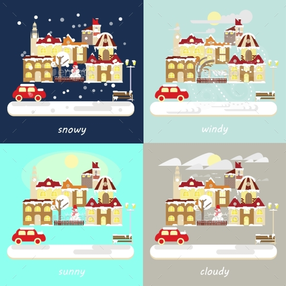 Types of Different Winter Weather - Buildings Objects