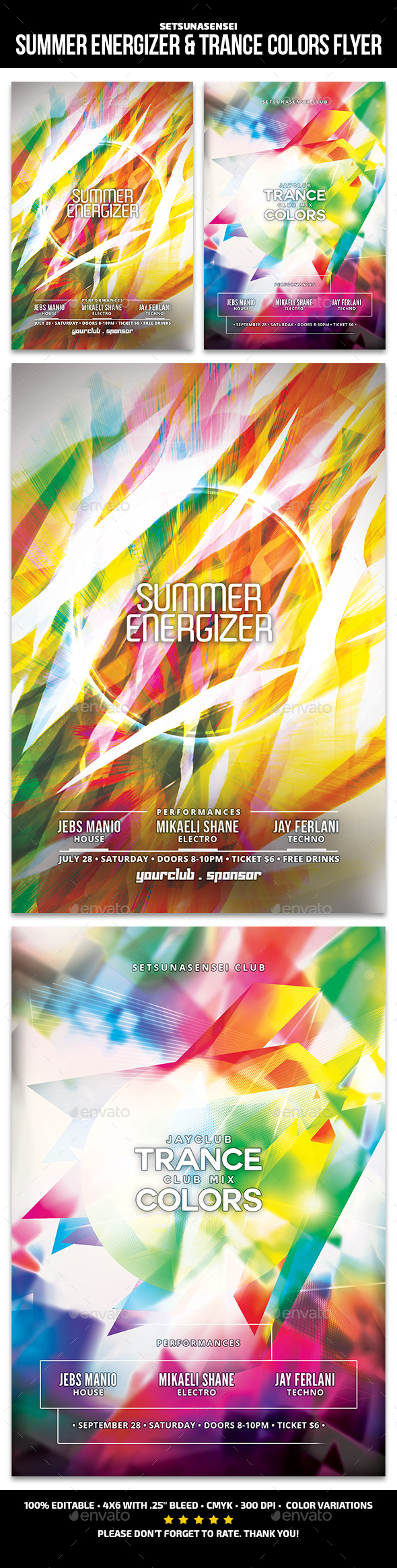 Summer Energizer & Trance Colors Flyer - Clubs & Parties Events
