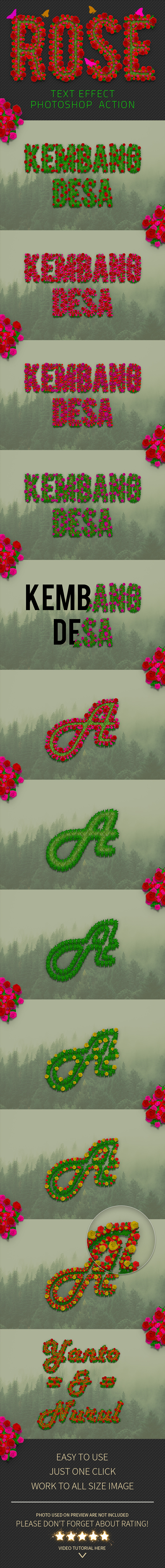 Rose Flowers Text Effect Photoshop Action - Text Effects Actions