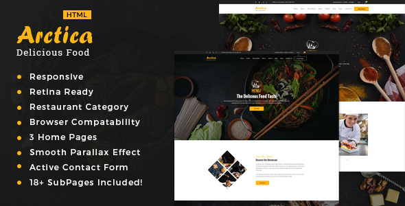 Artica :  Restaurant, Food & Cafe HTML Template - Restaurants & Cafes Entertainment