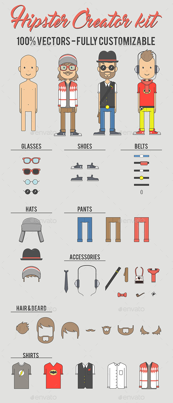 Hipster Creator Kit - People Characters