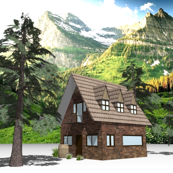 Mountain House (Low Poly) - 3DOcean Item for Sale