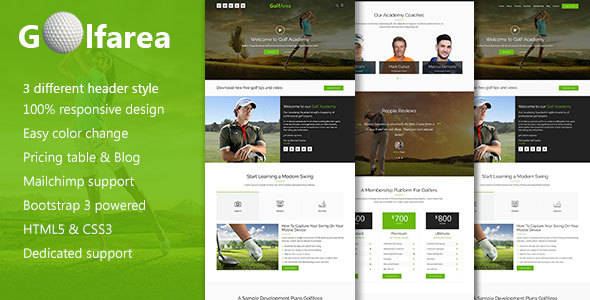 Golfarea Sports School, Classes Landing Template - Marketing Corporate