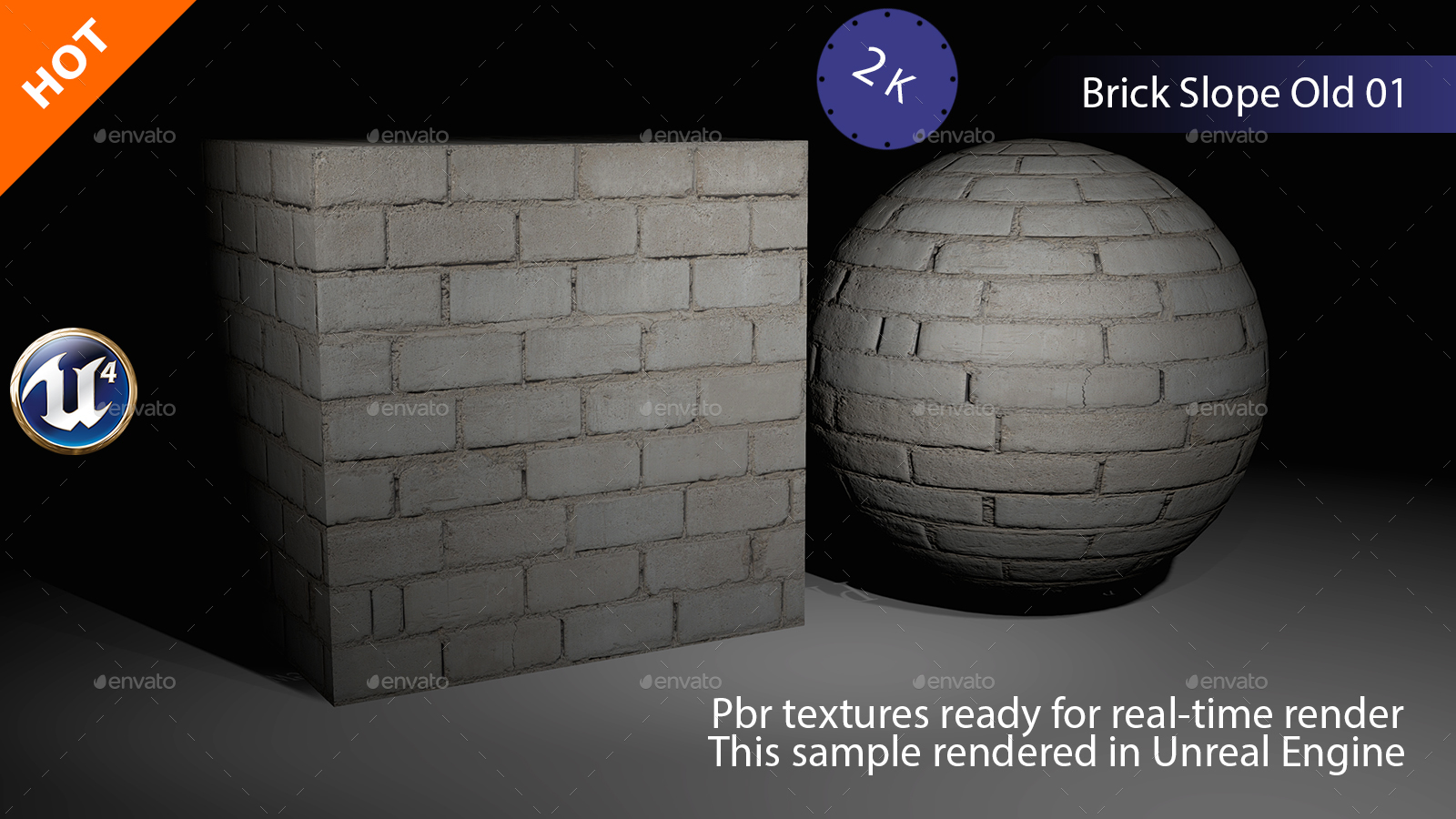 PBR Brick Slope Old 01 Texture