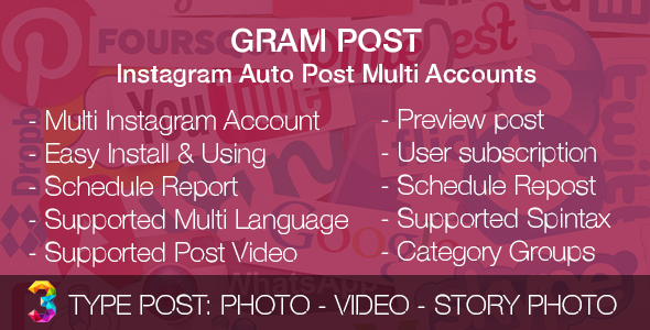 Gram Post - Instagram Auto Post Multi Accounts - CodeCanyon Item for Sale
