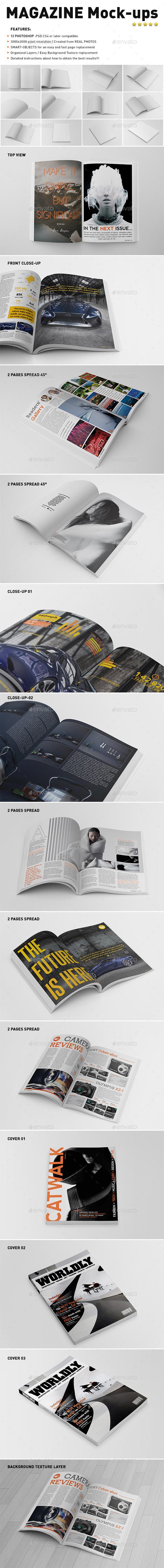 Photorealistic Magazine Mock-Ups - Magazines Print