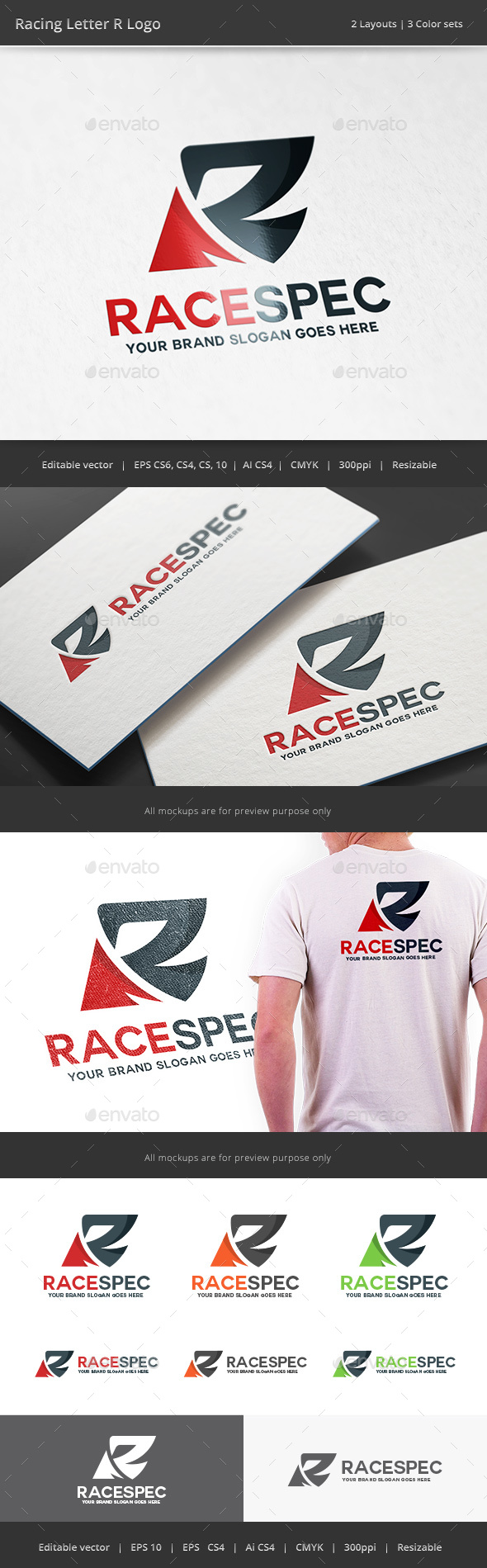 Racing Letter R Logo - Letters Logo Templates