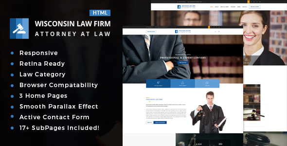 Wisconsin : Attorney, Lawyer and Law Agency HTML Template - Business Corporate