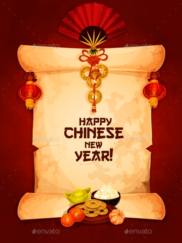 Chinese New Year Greeting Card on Paper Scroll - Miscellaneous Seasons/Holidays