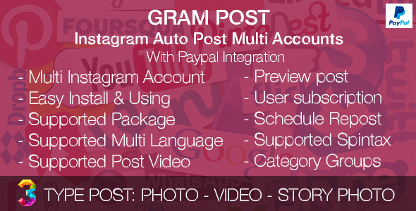 Gram Post - Instagram Auto Post Multi Accounts with Paypal integration - CodeCanyon Item for Sale