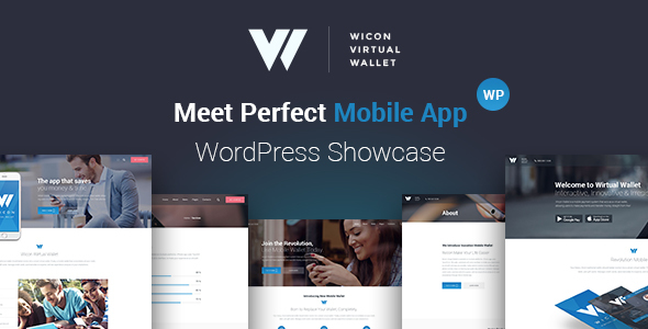 Mobile Wallet Application WordPress Theme - Wicon
