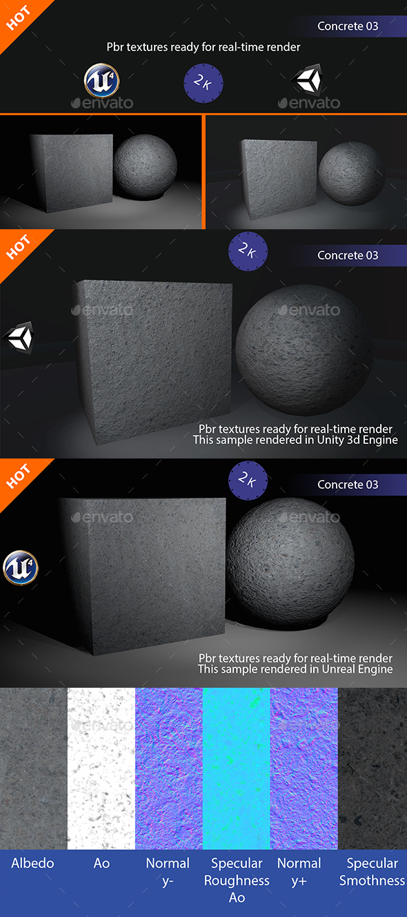 PBR Concrete 03 Texture - 3DOcean Item for Sale