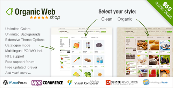 Organic Web Shop – An Organic and Responsive WooCommerce Food, Farn and Eco Theme