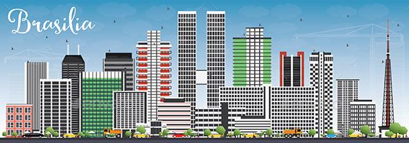 Brasilia Skyline with Gray Buildings - Buildings Objects