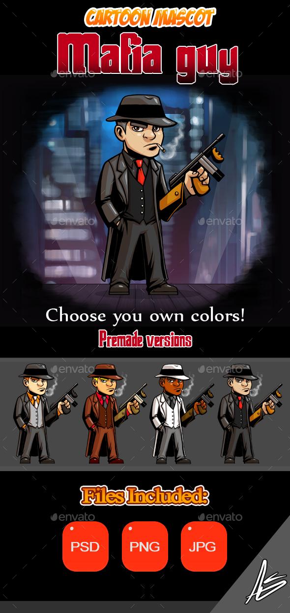 Mafia Guy Cartoon Mascot - Characters Illustrations
