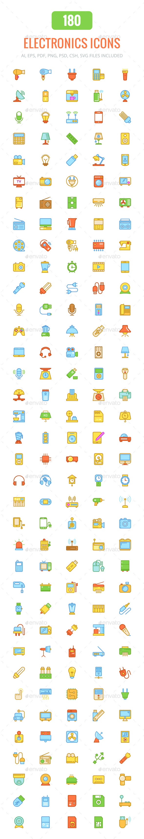 180 Electronics Colored & Line Icons - Icons