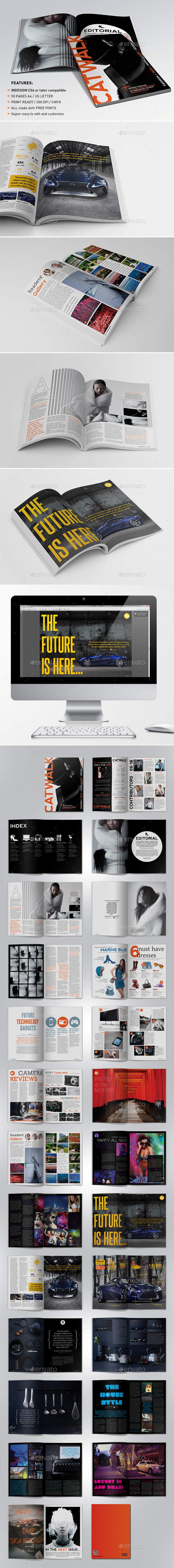 Catwalk Magazine Indesign Template - Magazines Print Templates