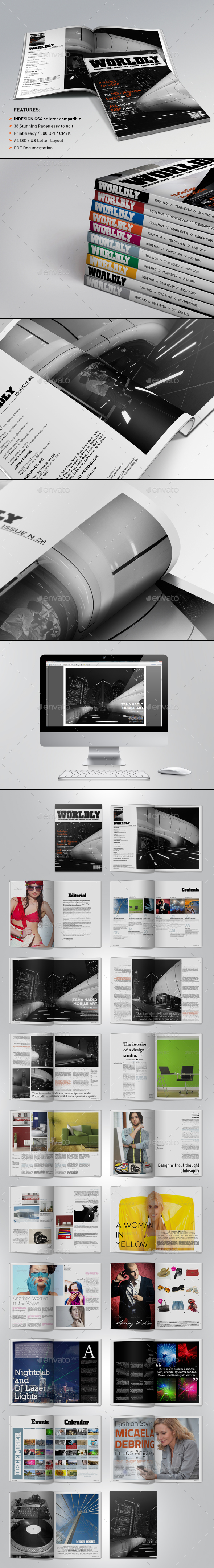 Wordly Magazine Indesign Template - Magazines Print Templates