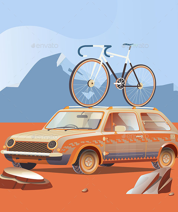 Retro Car with Bicycle on Top - Travel Conceptual