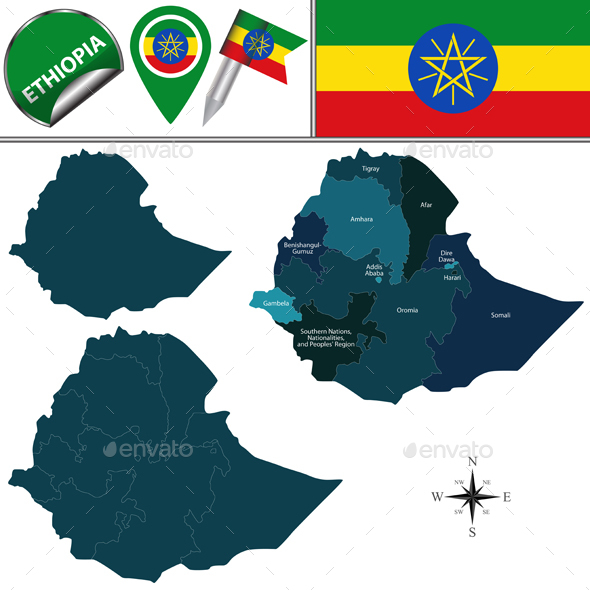 Map of Ethiopia with Named Regions - Travel Conceptual