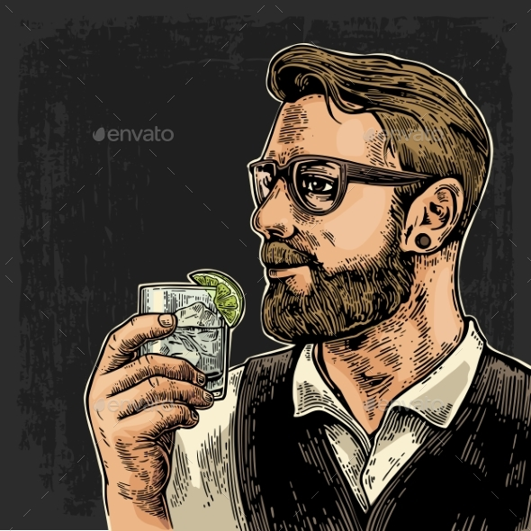 Hipster Holding a Glass of Gin - People Characters