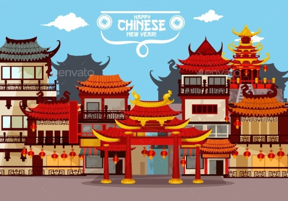 Happy Chinese New Year Greeting Card Design - Buildings Objects
