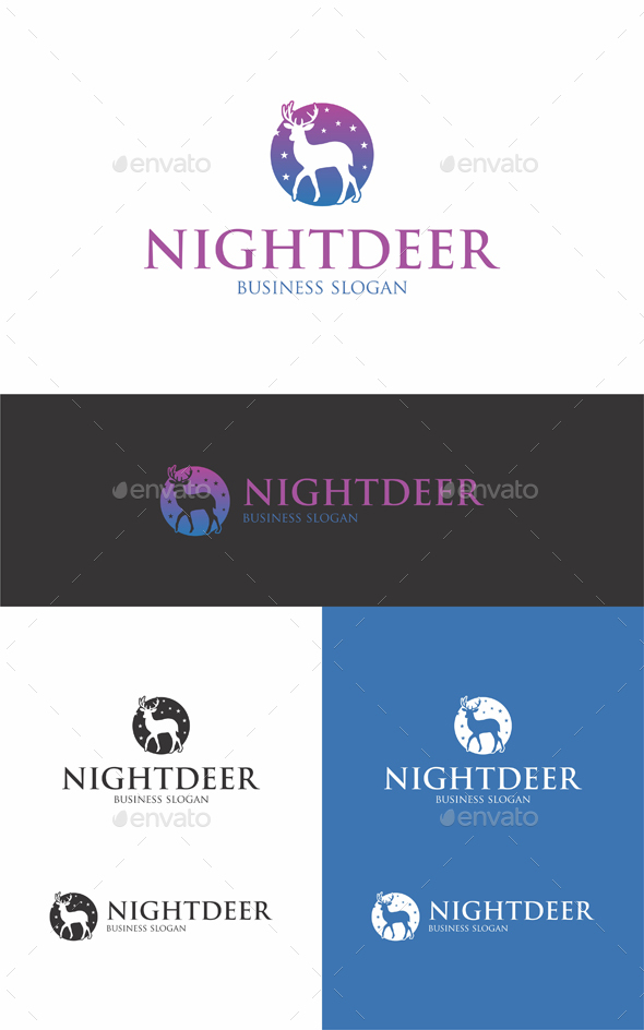 Night Deer Logo Template - Animals Logo Templates