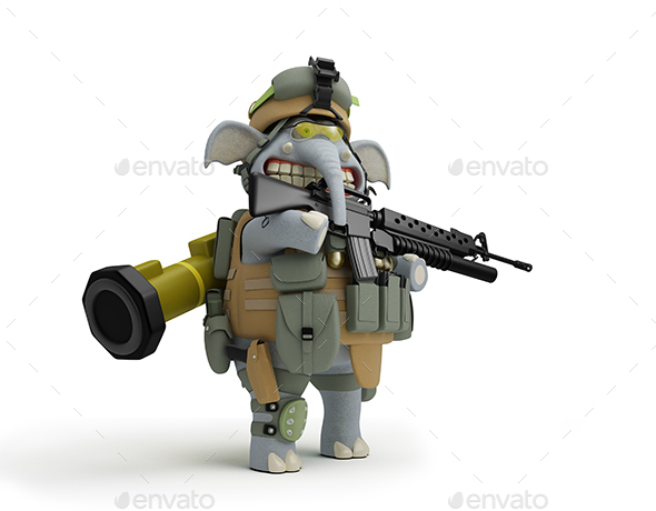 Cartoon Soldier Elephant at the Post 3D Illustration - Characters 3D Renders
