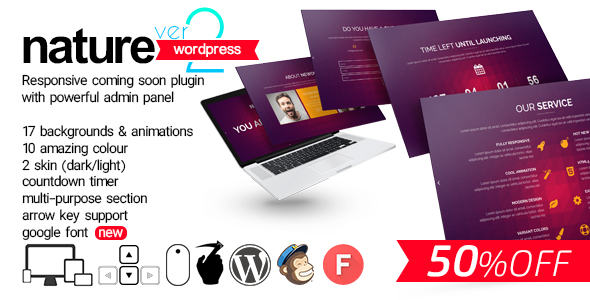 Nature - Responsive Coming Soon WP Plugin - CodeCanyon Item for Sale