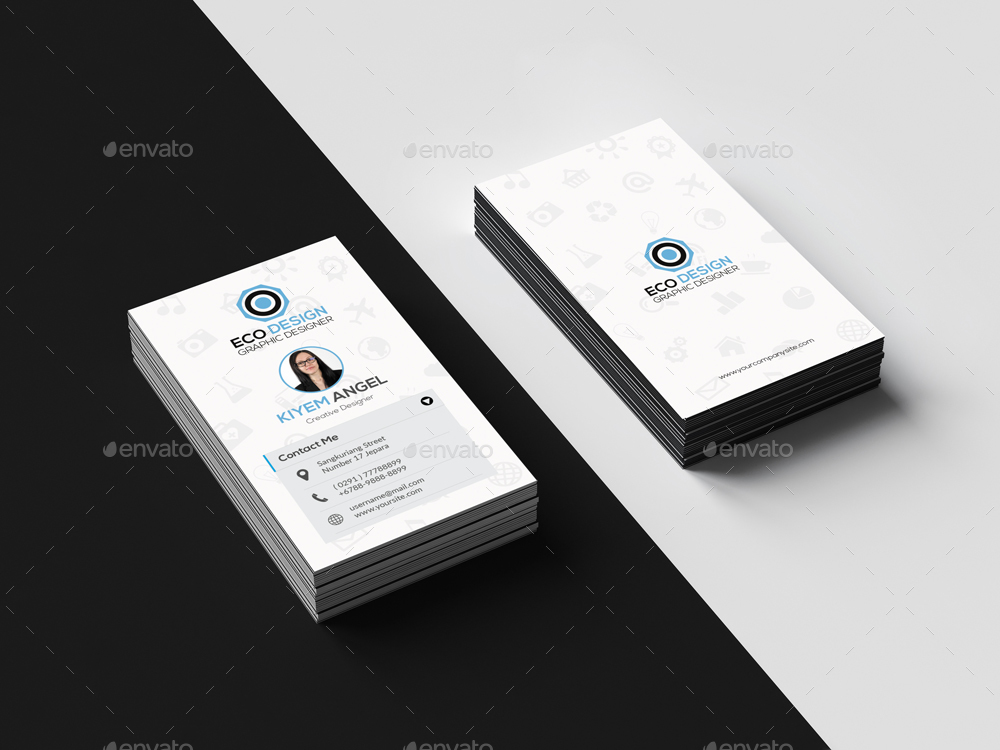 Clean Vertical Business Card by abaz-studio   GraphicRiver