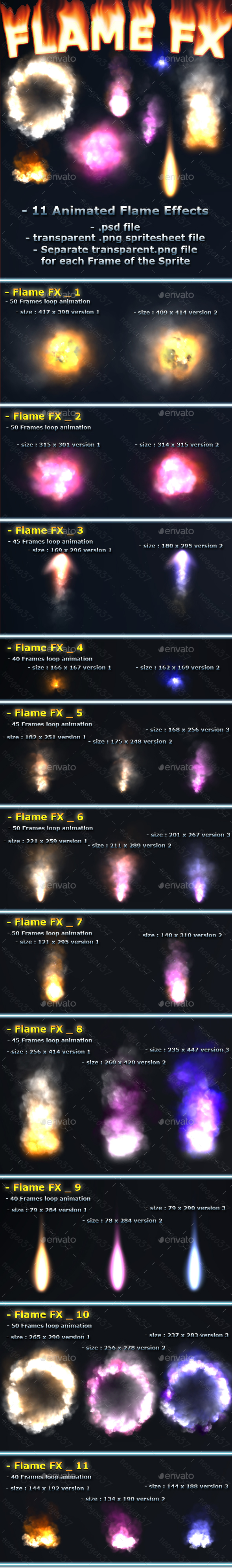 Flame Effects - Sprites Game Assets