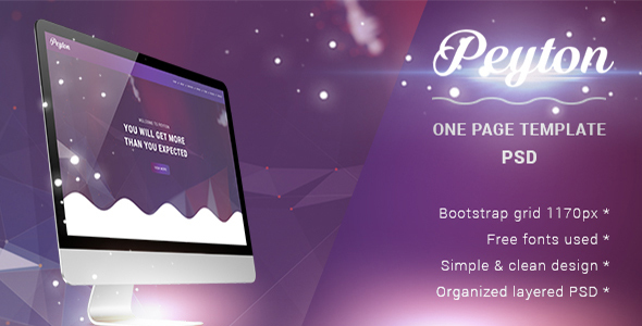 Peyton - Creative One Page PSD Template - Creative PSD Templates
