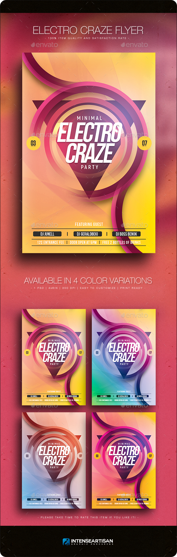 Electro Craze - Flyer Template - Clubs & Parties Events