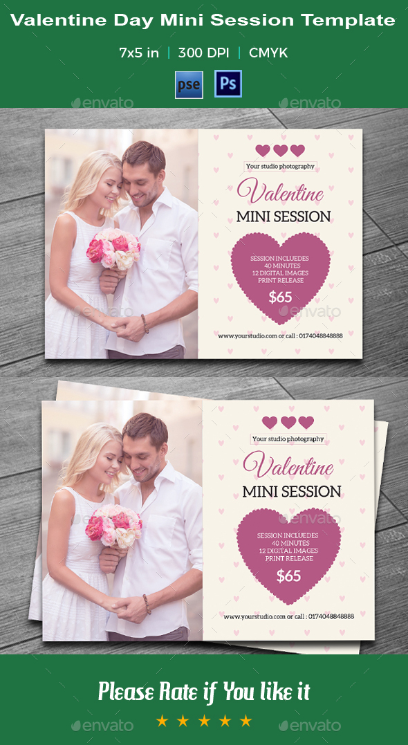 Valentine Day Mini Session Card-V07 - Events Flyers