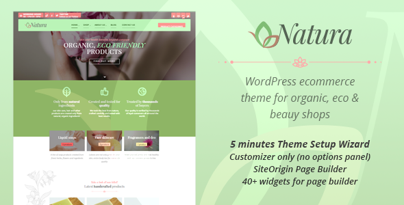 Natura – WP Theme for organic, eco and beauty eCommerce enabled websites