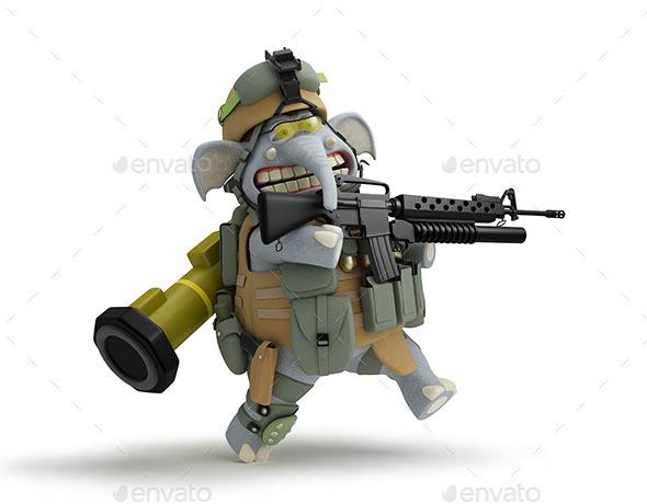 Soldier Elephant Walks 3D Illustration - Characters 3D Renders