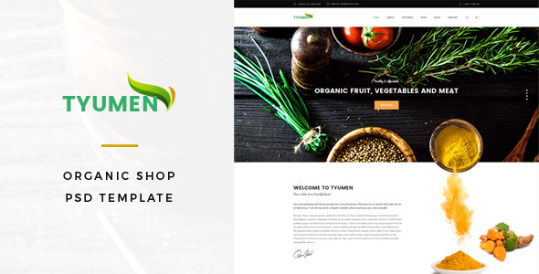 Tyumen – Organic Shop PSD Template