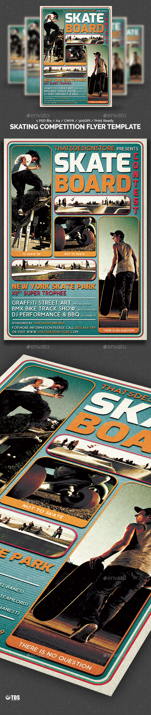 Skating Competition Flyer Template by lou606 – Competition Flyer Template