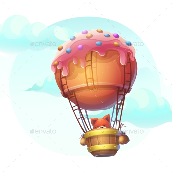 Vector Illustration Fox in Blimp - Objects Vectors