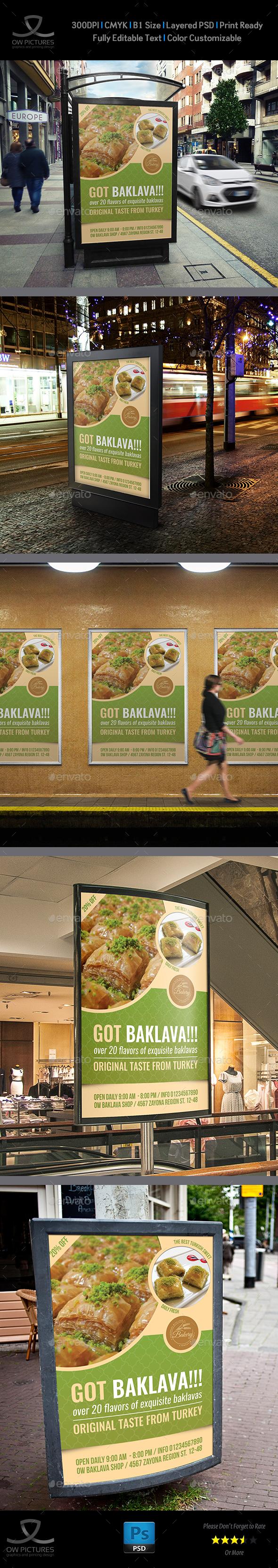 Baklava Poster Template - Signage Print Templates