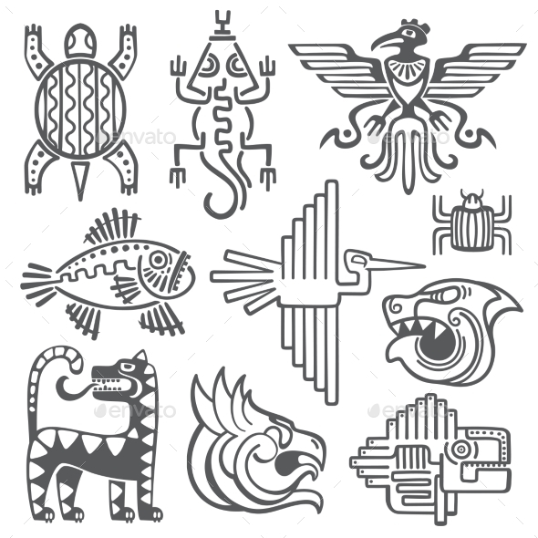 Historic Aztec Inca Vector Symbols Mayan Temple by ...