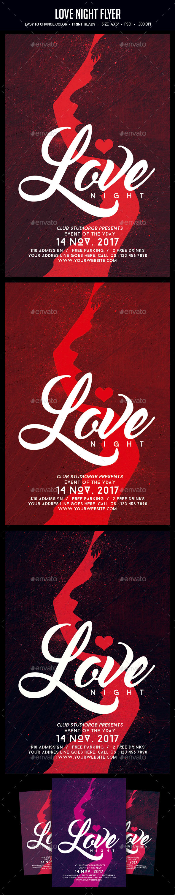 Love Night Flyer - Clubs & Parties Events